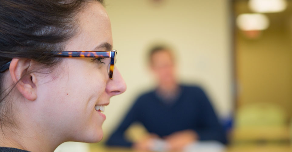 Profile of smiling student